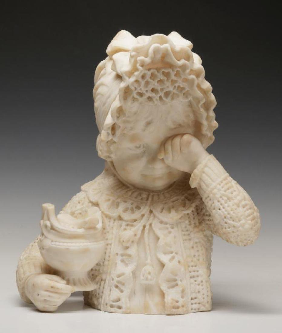 A 19TH C. ITALIAN SCHOOL MARBLE BUST OF CHILD
