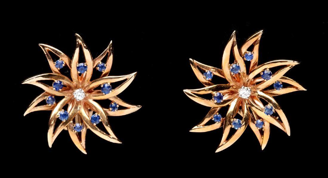 A PAIR 14K TIFFANY & CO DIAMOND SAPPHIRE EARRINGS