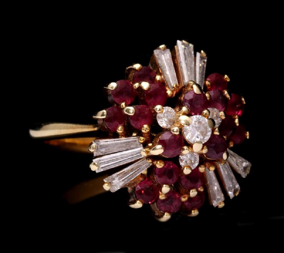 AN 18K GOLD RUBY AND DIAMOND COCKTAIL RING