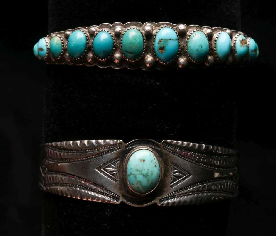 TWO NAVAJO STERLING CUFF BRACELETS WITH TURQUOISE
