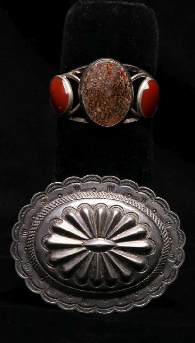 A NAVAJO INDIAN BRACELET AND CONCHO AS BROOCH