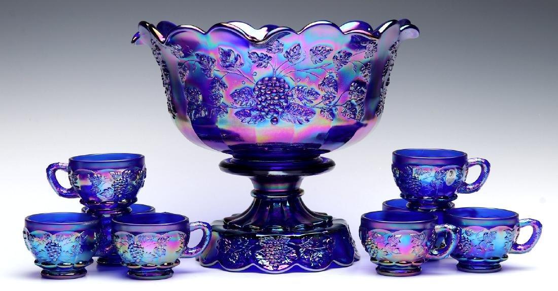 A FENTON 'PANELED GRAPE' CARNIVAL GLASS PUNCH BOWL