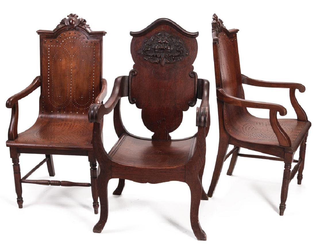 THREE UNUSUAL LATE 19TH C. ARM CHAIRS WITH CARVING