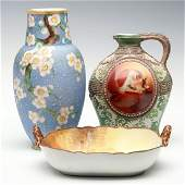 THREE HAND PAINTED NIPPON PORCELAIN ITEMS