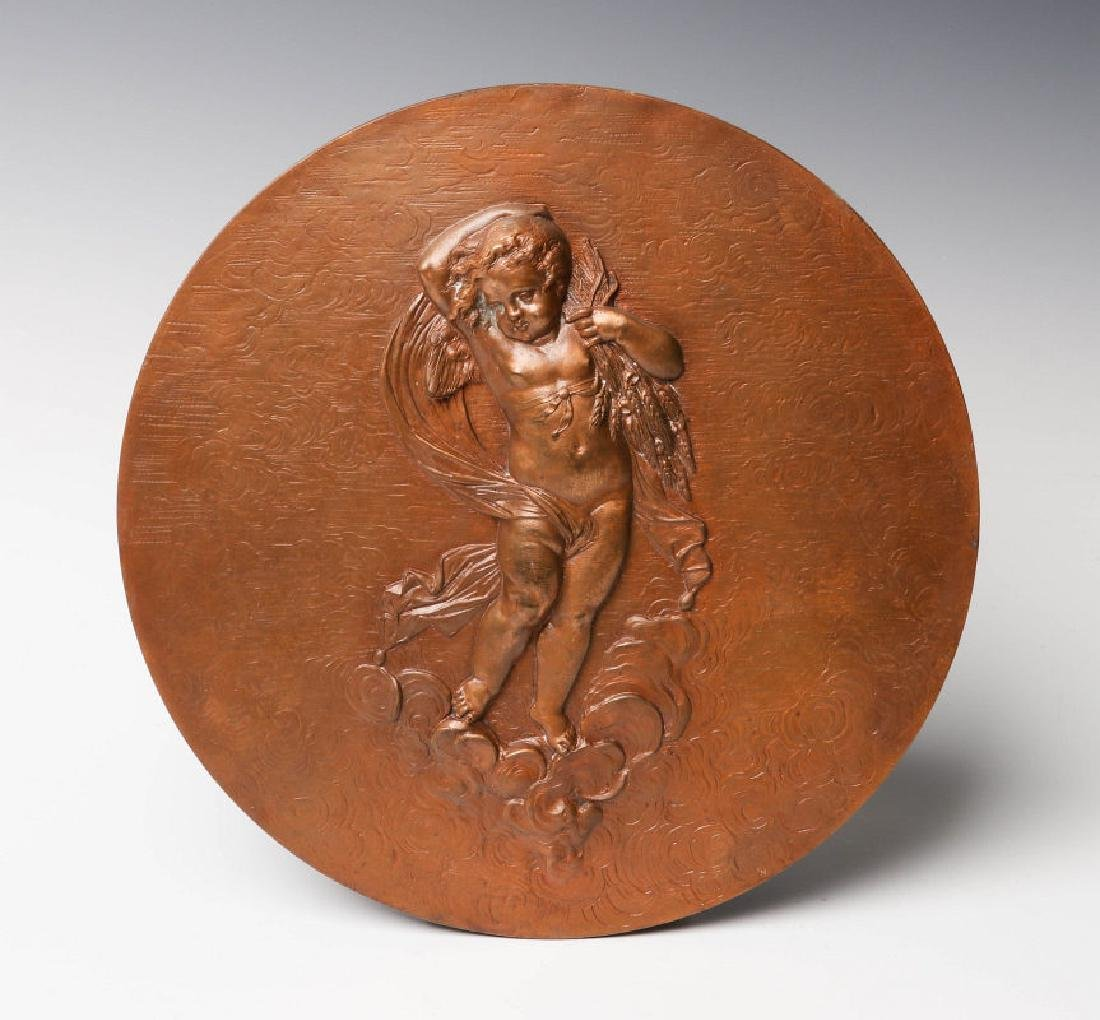 'METALLIC COMPRESS' BRONZE PLAQUE WITH CHERUBS
