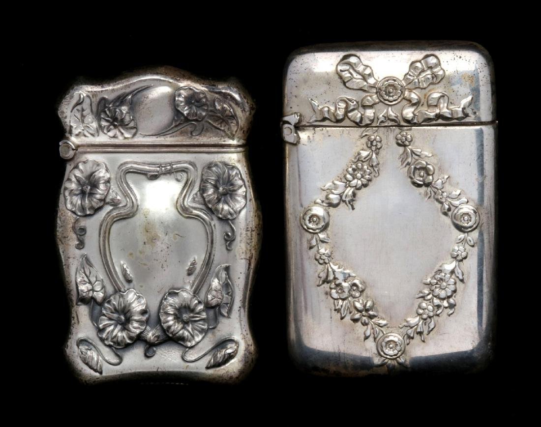 AN ANTIQUE STERLING MATCH SAFE, PLUS ANOTHER