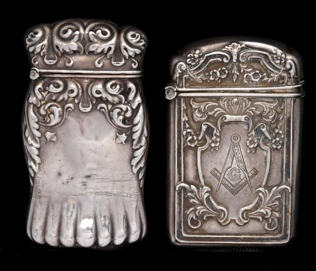 A FREEMASON'S STERLING MATCH SAFE, PLUS ANOTHER