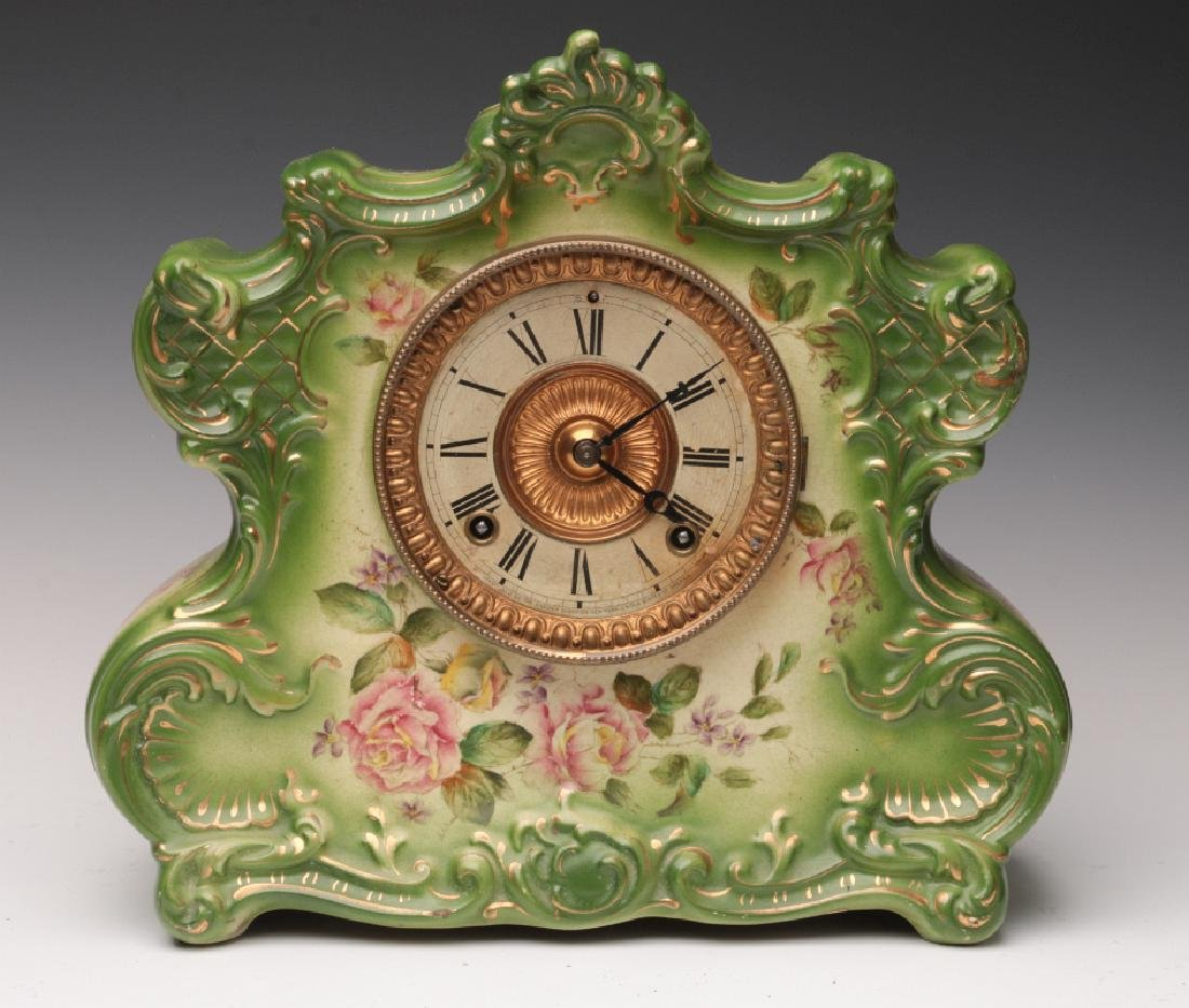 AN ANSONIA CHINA CASE CLOCK