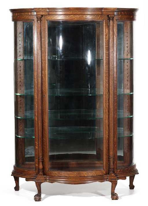 - CIRCA 1900 ANTIQUE OAK CURVED GLASS CHINA CABINET