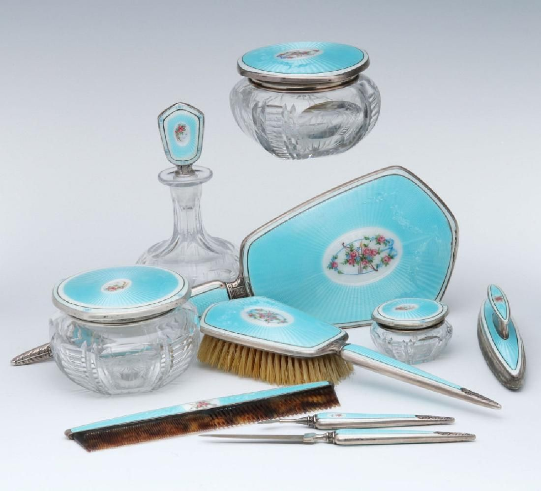 A FINE 10 PC GUILLOCHE ENAMEL STERLING DRESSER SET
