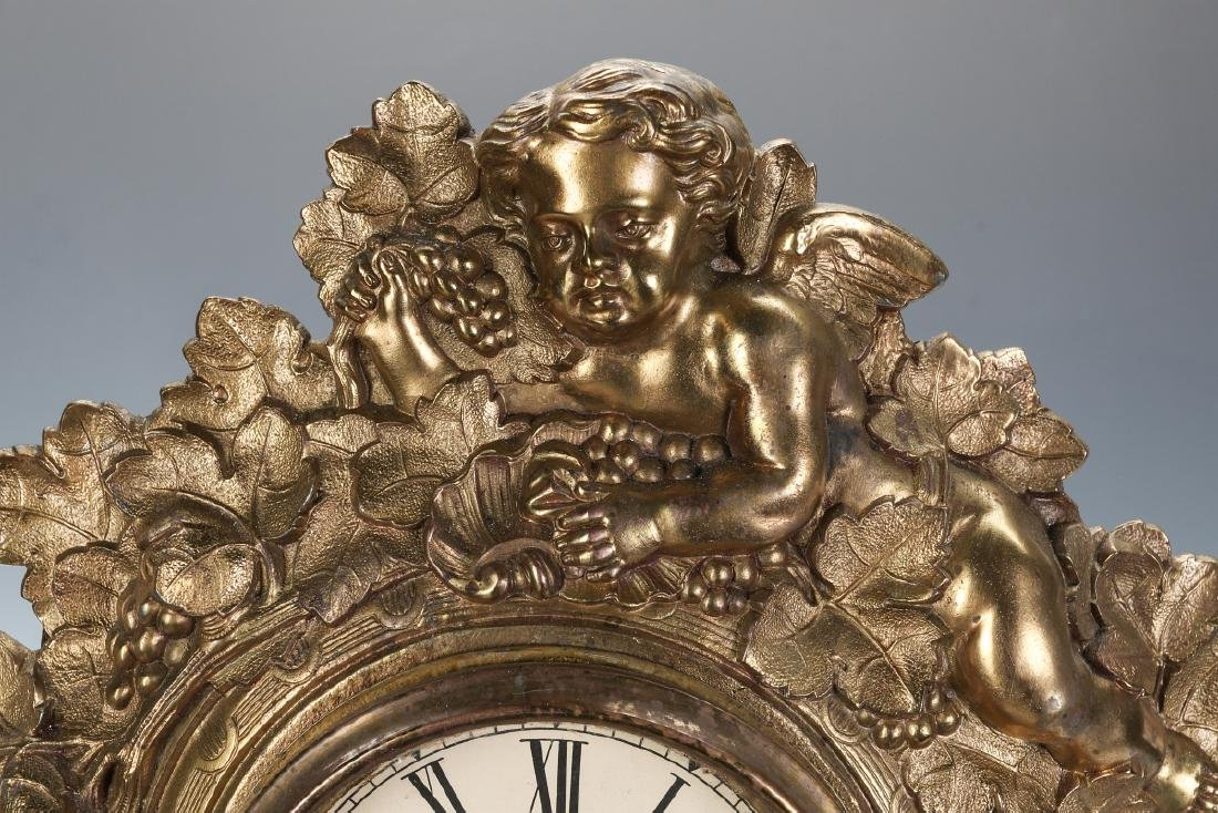 A NICHOLAS MULLER CAST IRON CLOCK WITH PUTTI - 2