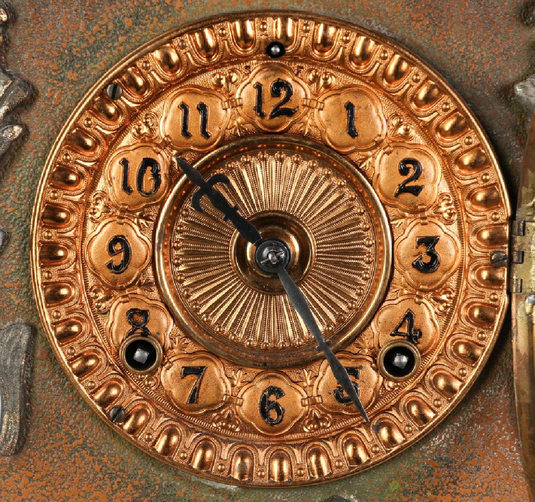 AN ANSONIA ORNATE ROCOCO STYLE IRON CLOCK - 6