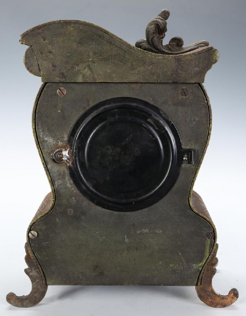 AN ANSONIA ORNATE ROCOCO STYLE IRON CLOCK - 9