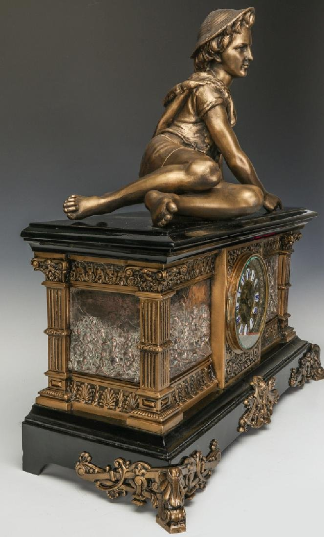 AN ANSONIA 'COLUMBIA' MASSIVE FIGURAL MANTEL CLOCK - 11