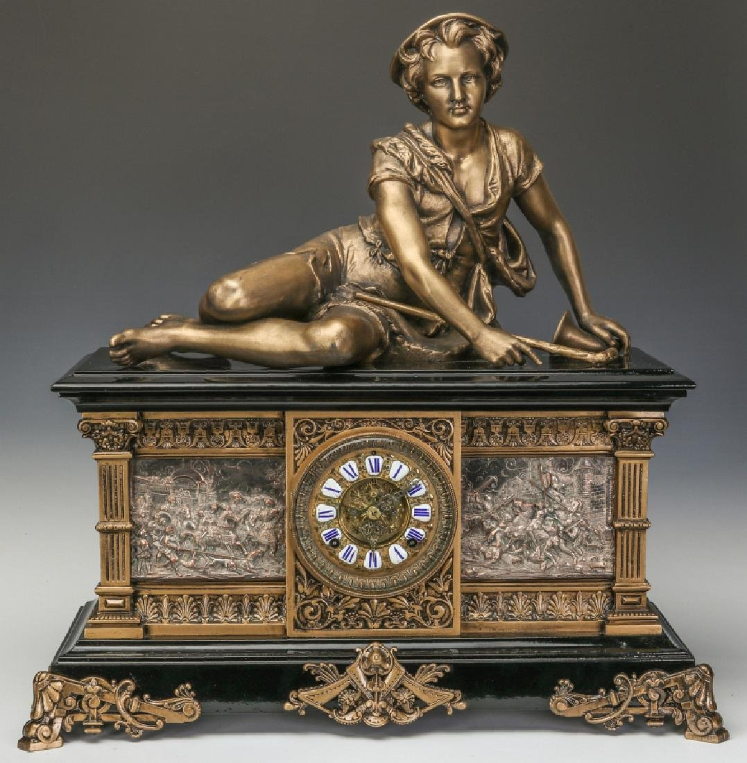 AN ANSONIA 'COLUMBIA' MASSIVE FIGURAL MANTEL CLOCK