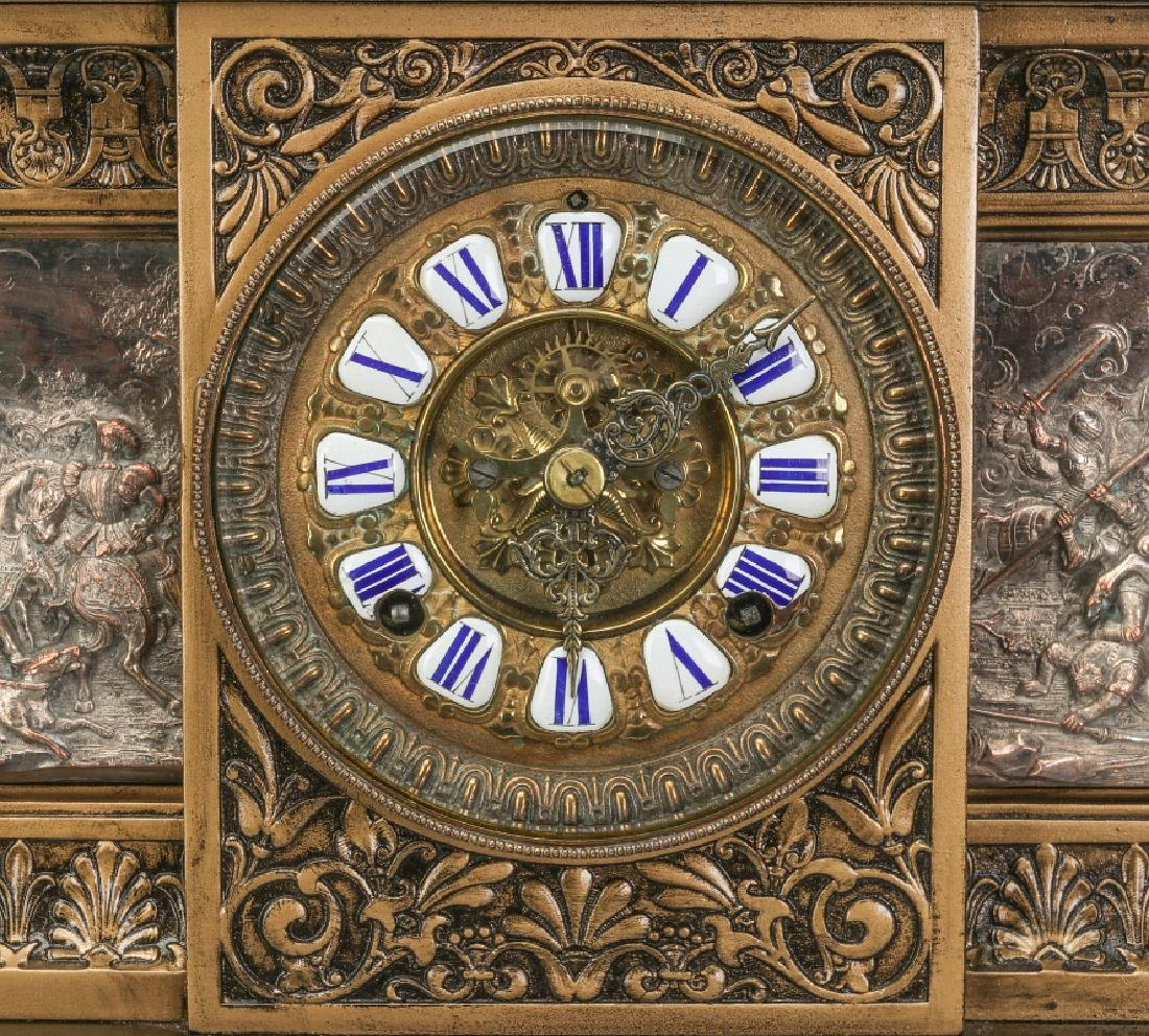 AN ANSONIA 'COLUMBIA' MASSIVE FIGURAL MANTEL CLOCK - 3
