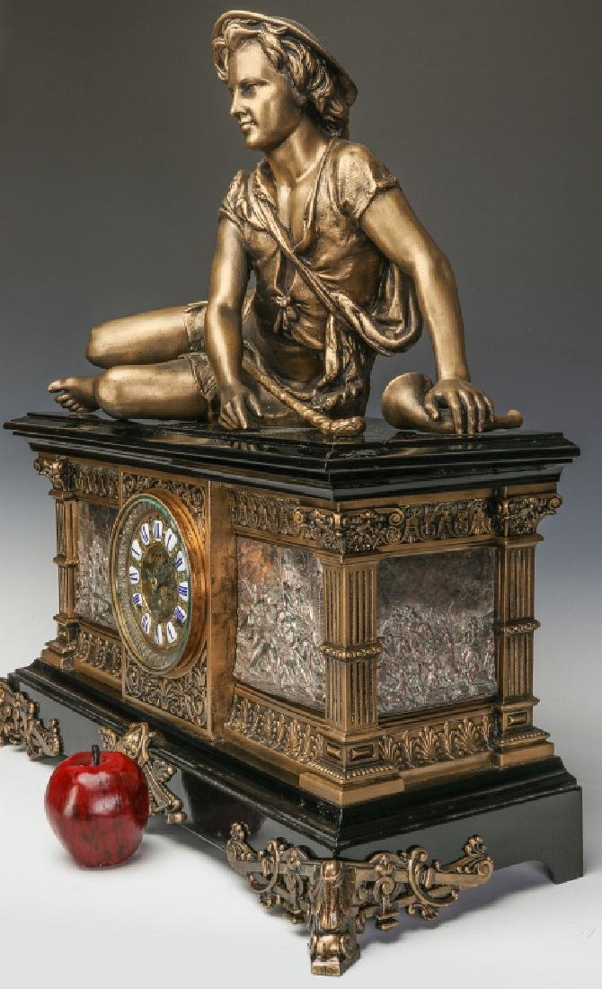 AN ANSONIA 'COLUMBIA' MASSIVE FIGURAL MANTEL CLOCK - 9