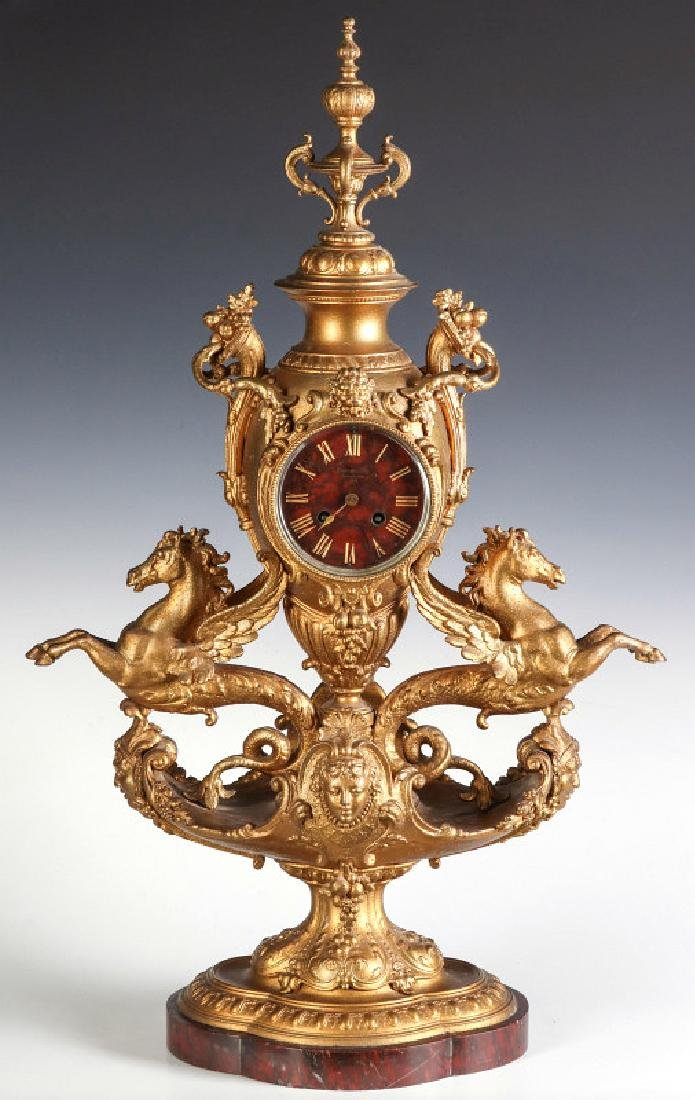A LARGE FRENCH 1878 PARIS EXPOSITION STATUE CLOCK