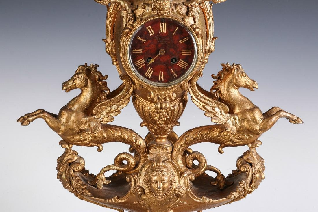 A LARGE FRENCH 1878 PARIS EXPOSITION STATUE CLOCK - 5
