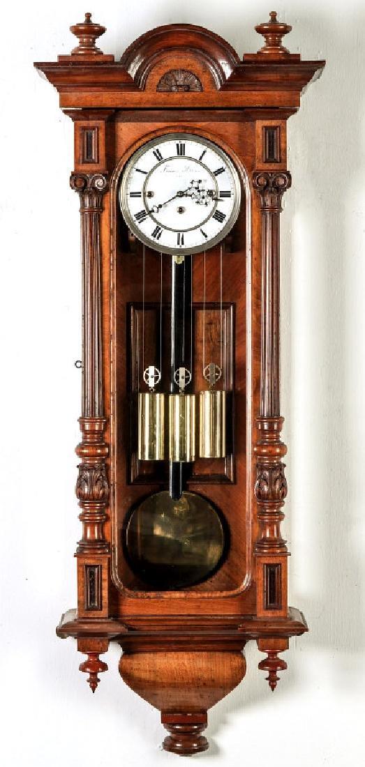 A NICE AUSTRIAN THREE-WEIGHT REGULATOR WALL CLOCK