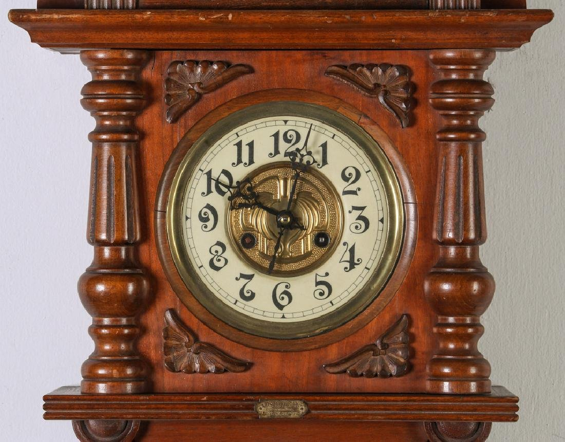 AN ORNATE JUNGHANS OPEN WAG WALL CLOCK WITH EAGLE - 3