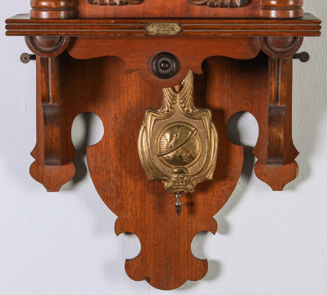 AN ORNATE JUNGHANS OPEN WAG WALL CLOCK WITH EAGLE - 4