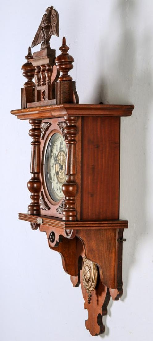 AN ORNATE JUNGHANS OPEN WAG WALL CLOCK WITH EAGLE - 6