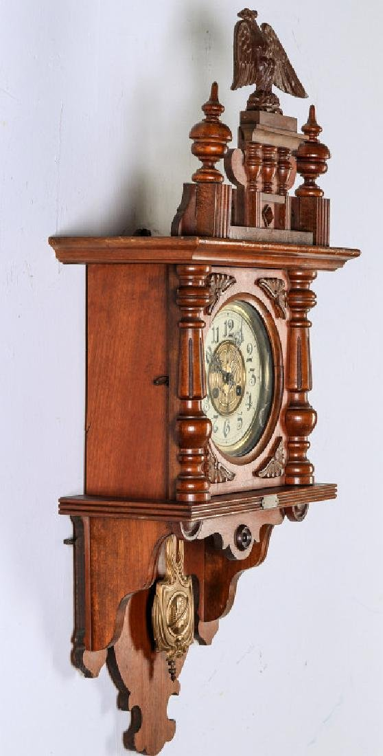 AN ORNATE JUNGHANS OPEN WAG WALL CLOCK WITH EAGLE - 7