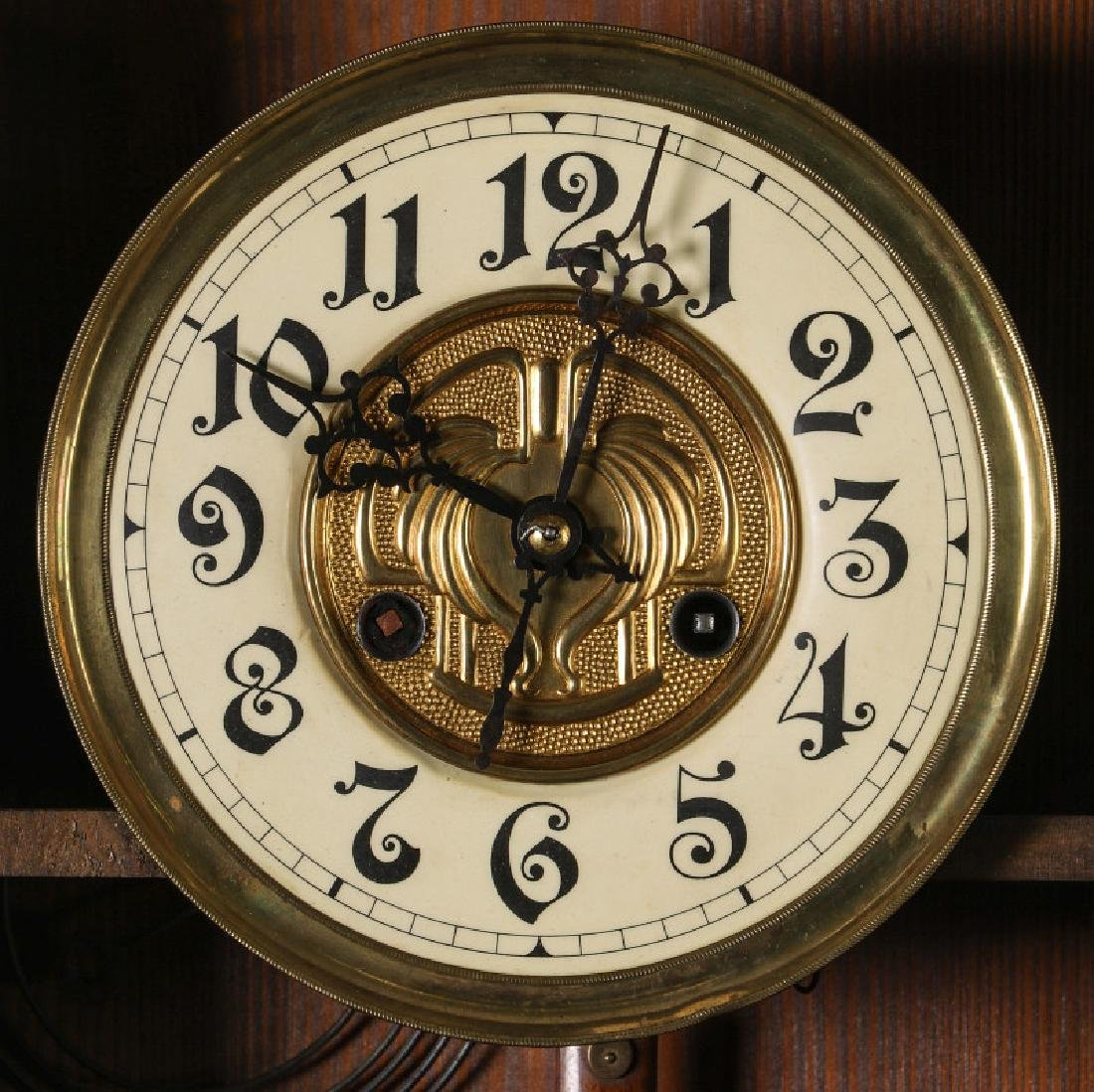 AN ORNATE JUNGHANS OPEN WAG WALL CLOCK WITH EAGLE - 9