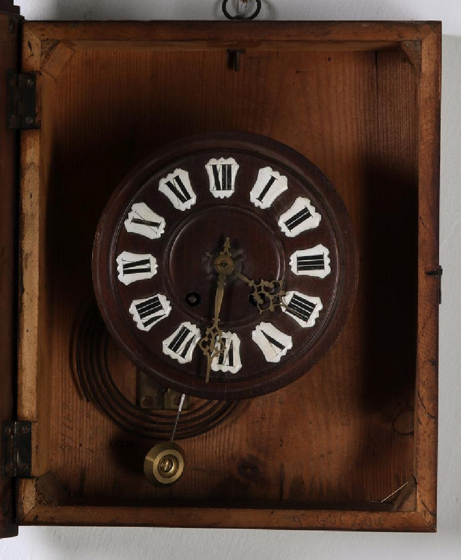 A 19TH CENTURY GERMAN BLACK FOREST WALL CLOCK - 6