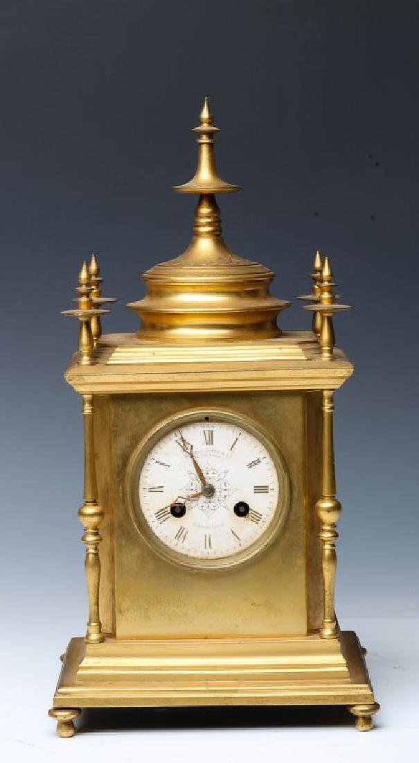 A 19TH CENTURY CONTINENTAL GILT BRONZE TABLE CLOCK