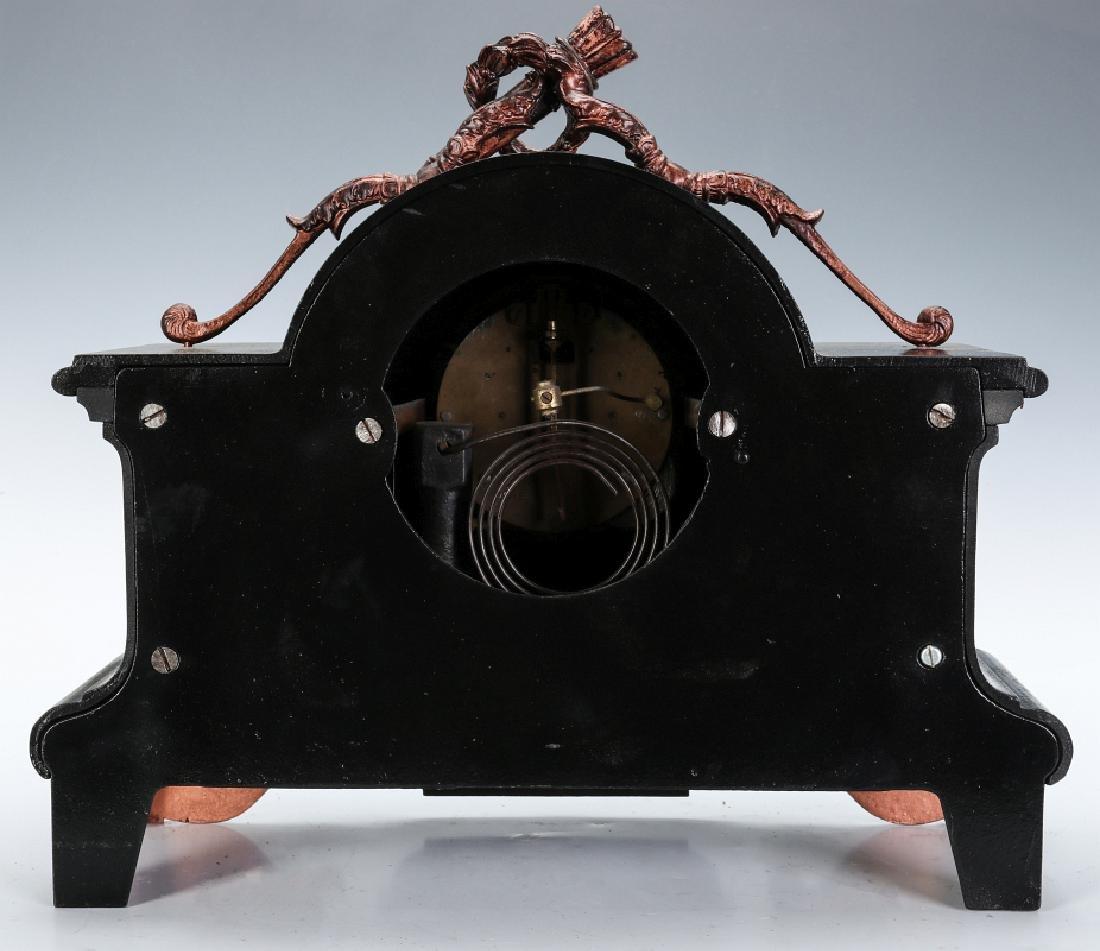 AN ANSONIA BLACK ENAMEL IRON MANTLE CLOCK - 10