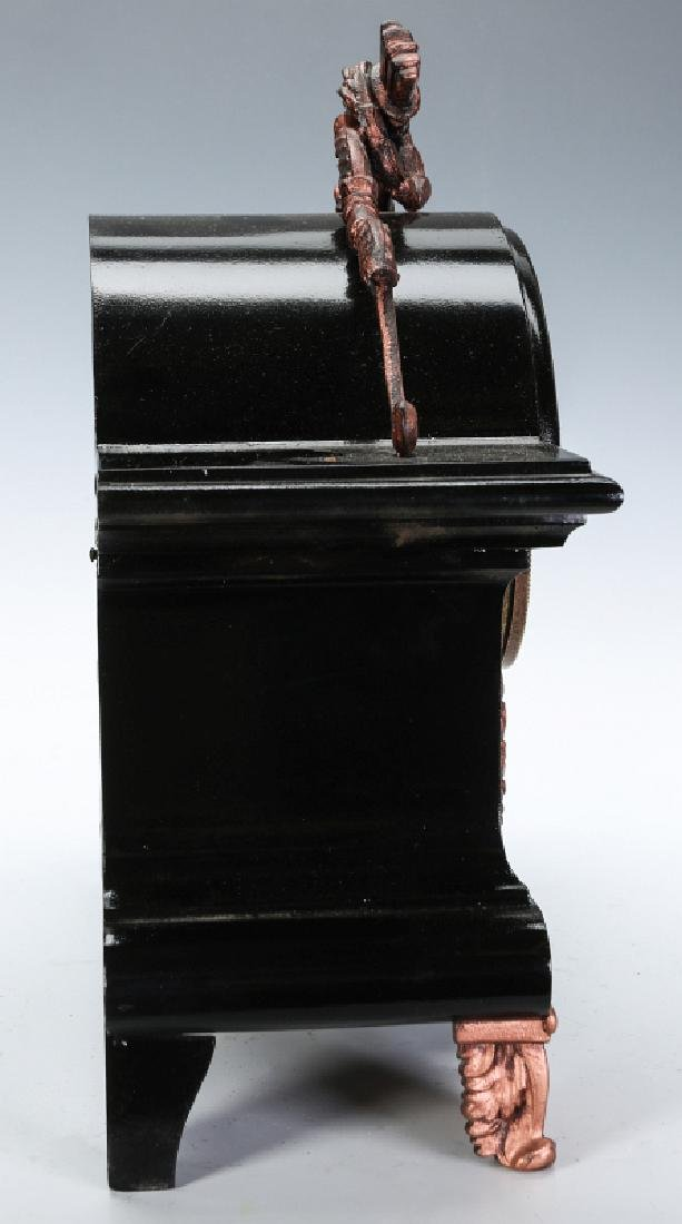 AN ANSONIA BLACK ENAMEL IRON MANTLE CLOCK - 14