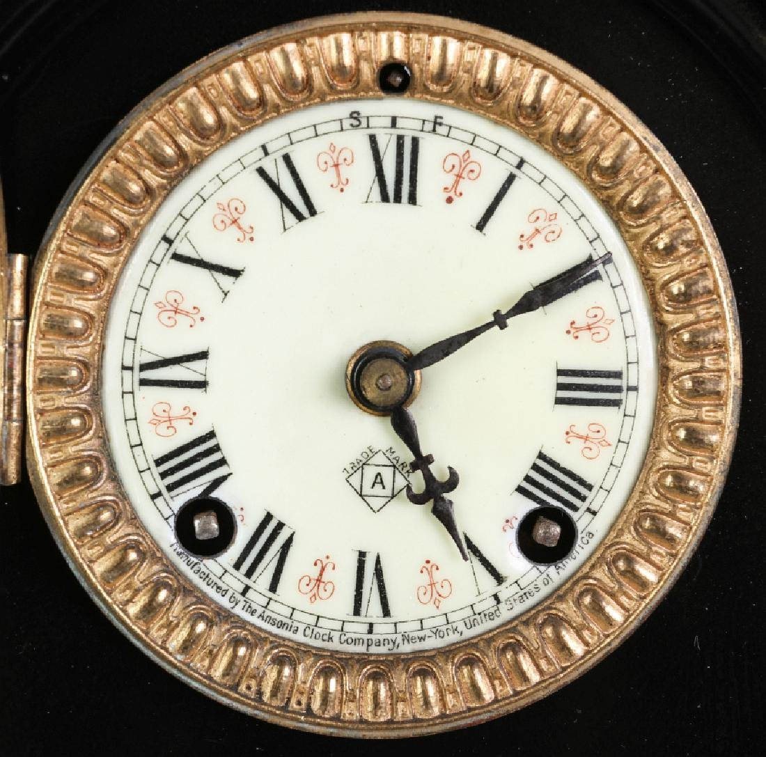 AN ANSONIA BLACK ENAMEL IRON MANTLE CLOCK - 6