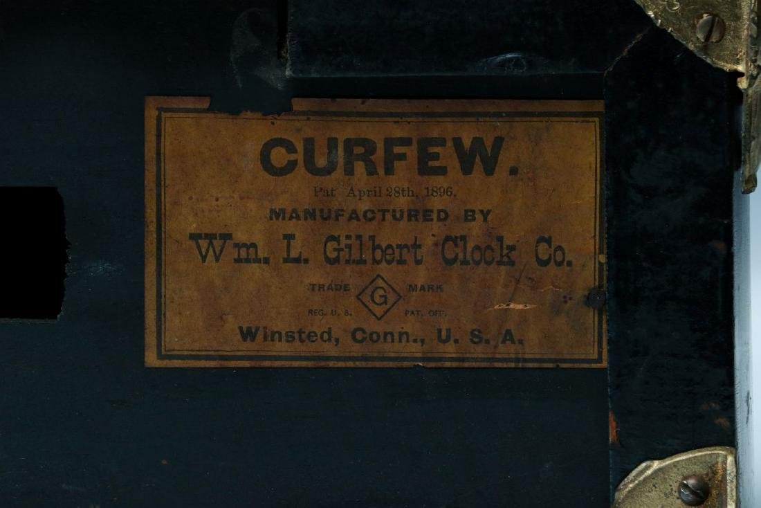 A GILBERT 'CURFEW' BELL TOP SHELF CLOCK - 8