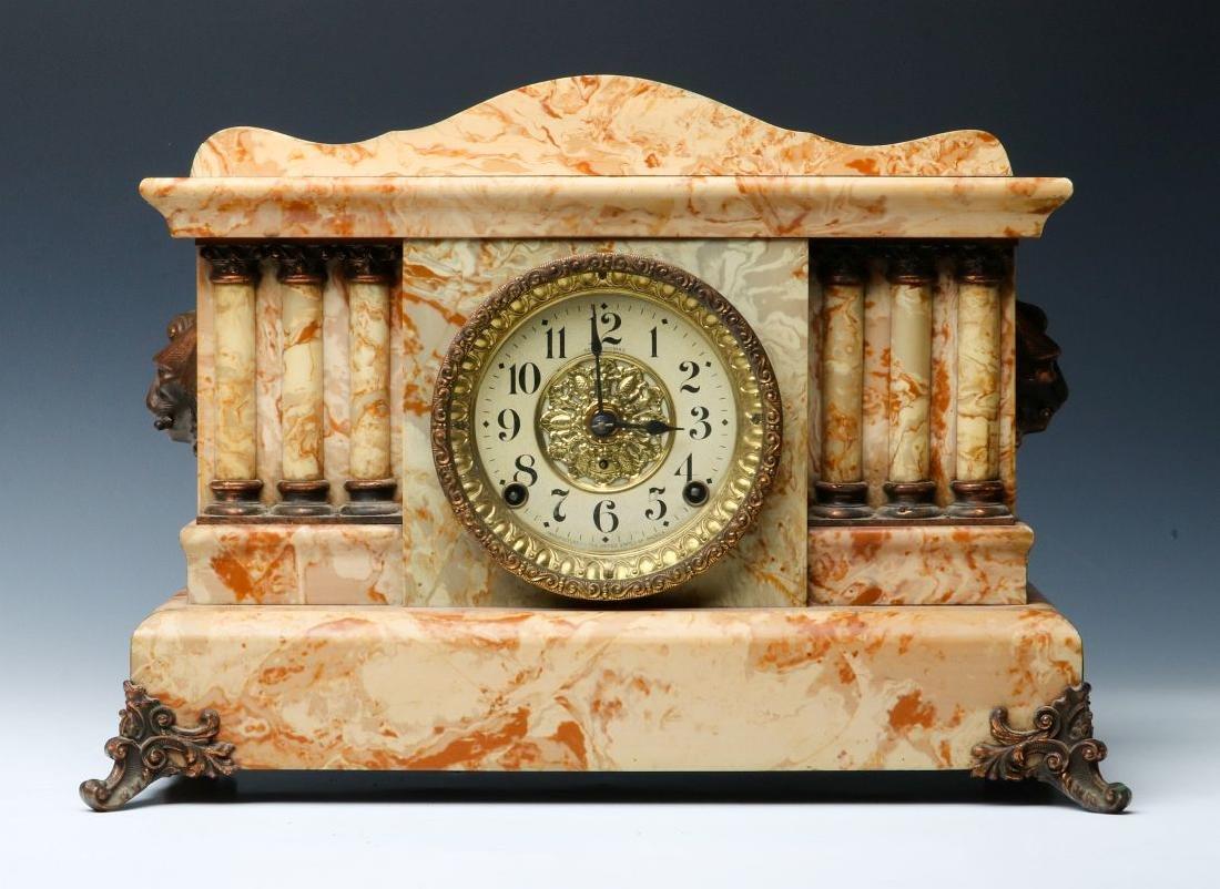 A SETH THOMAS ADAMANTINE FINISH MANTEL CLOCK