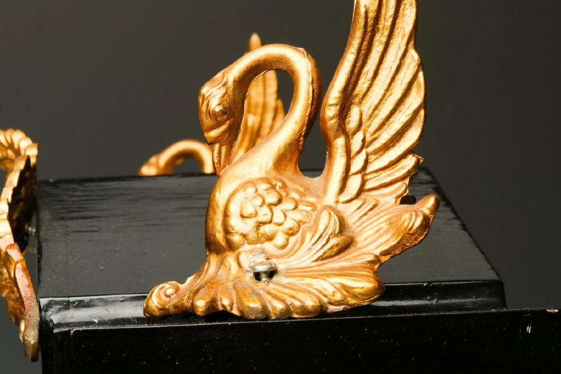 AN ANSONIA ENAMELED IRON CLOCK WITH SWANS - 6