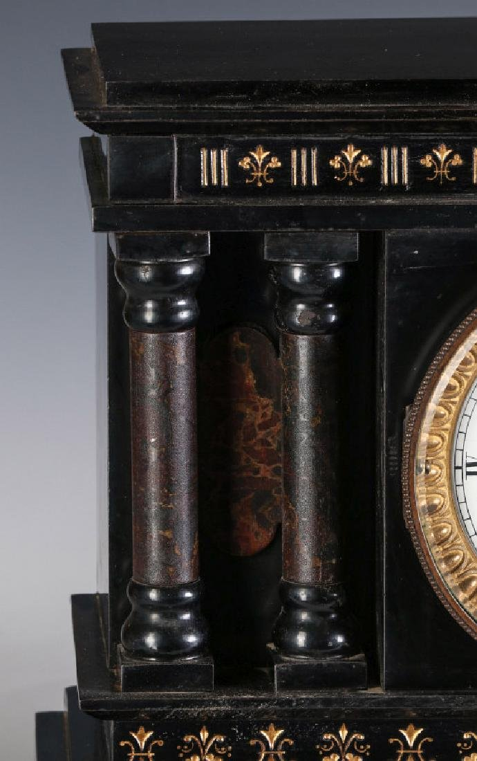 A NEW HAVEN ENAMELED IRON MANTLE CLOCK - 2