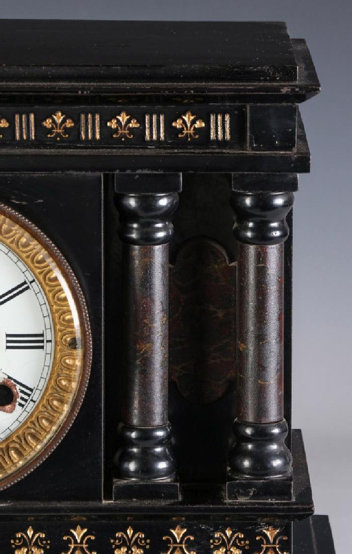 A NEW HAVEN ENAMELED IRON MANTLE CLOCK - 3