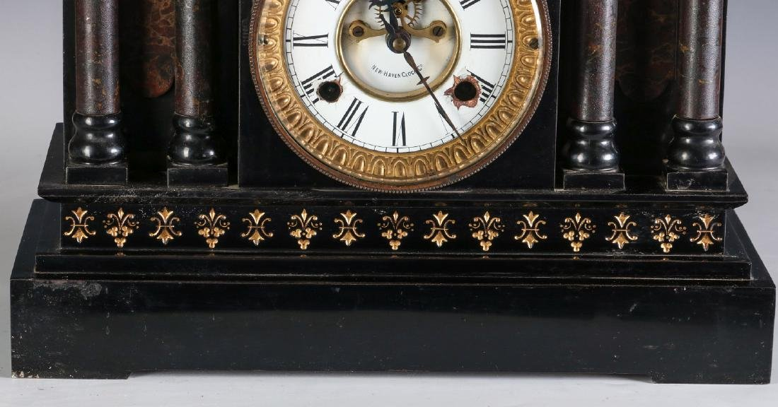 A NEW HAVEN ENAMELED IRON MANTLE CLOCK - 4