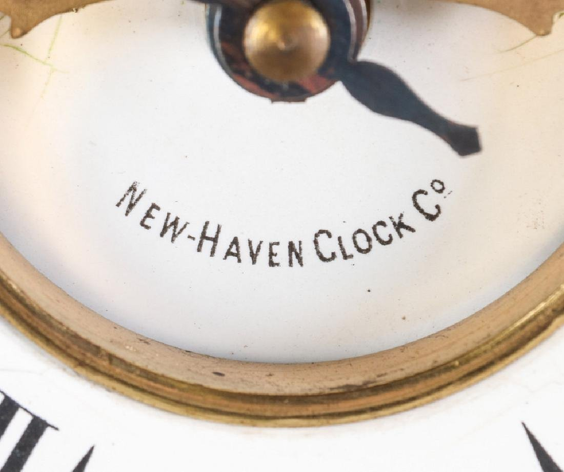 A NEW HAVEN ENAMELED IRON MANTLE CLOCK - 6
