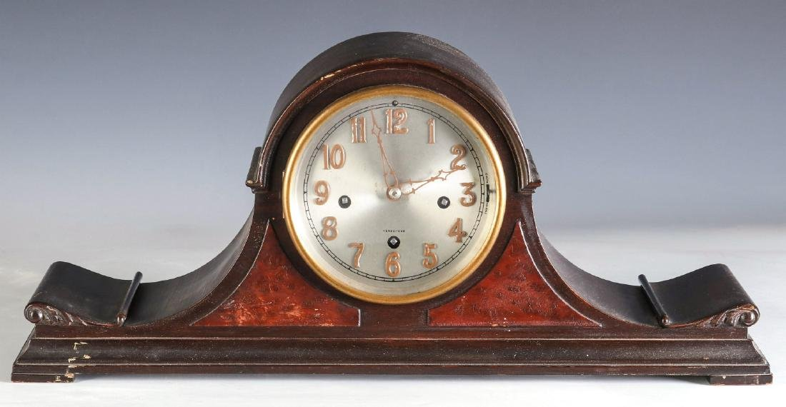 A HERSCHEDE TAMBOUR CLOCK WITH WESTMINSTER CHIME