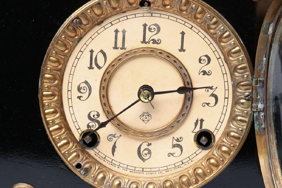 AN ANSONIA 'AMIENS' IRON MANTLE CLOCK - 7