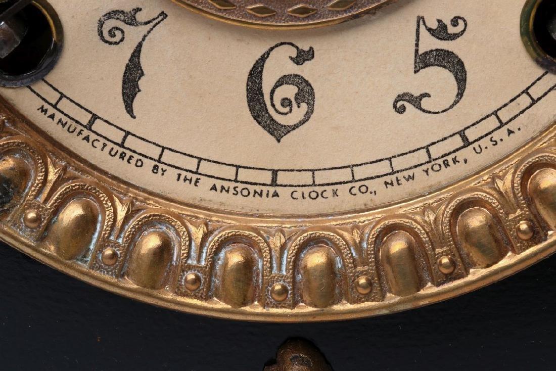 AN ANSONIA 'AMIENS' IRON MANTLE CLOCK - 9