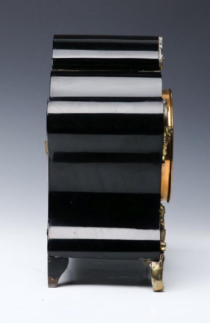 AN ANSONIA BLACK ENAMELED SHELF CLOCK - 3