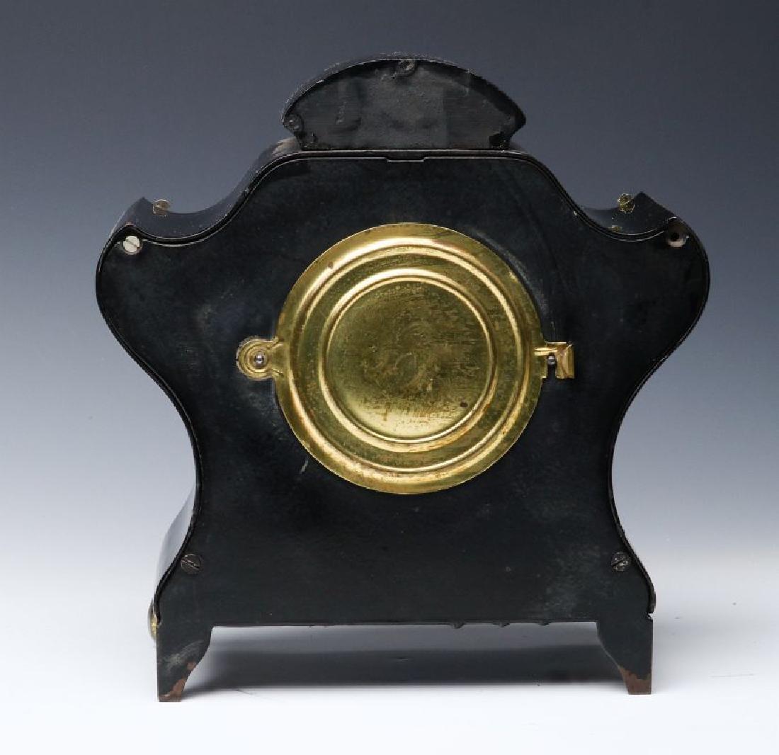 AN ANSONIA BLACK ENAMELED SHELF CLOCK - 4