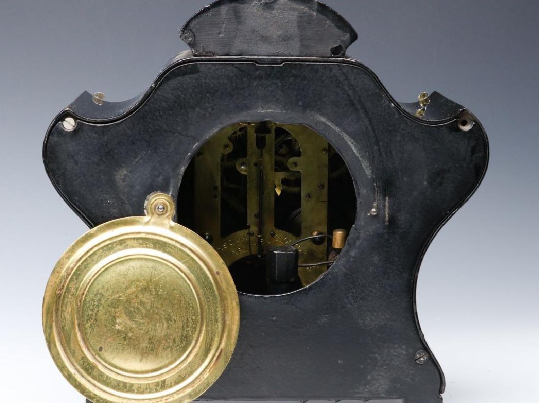 AN ANSONIA BLACK ENAMELED SHELF CLOCK - 5