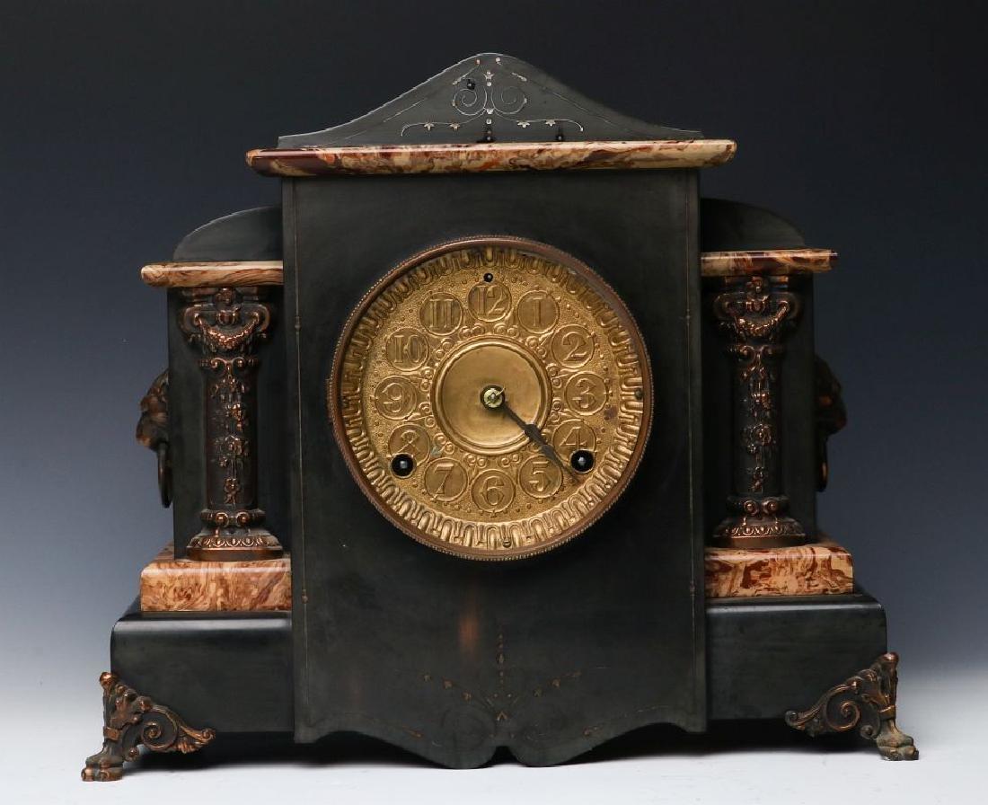 A SETH THOMAS ADAMANTINE HIGHLIGHTS MANTLE CLOCK