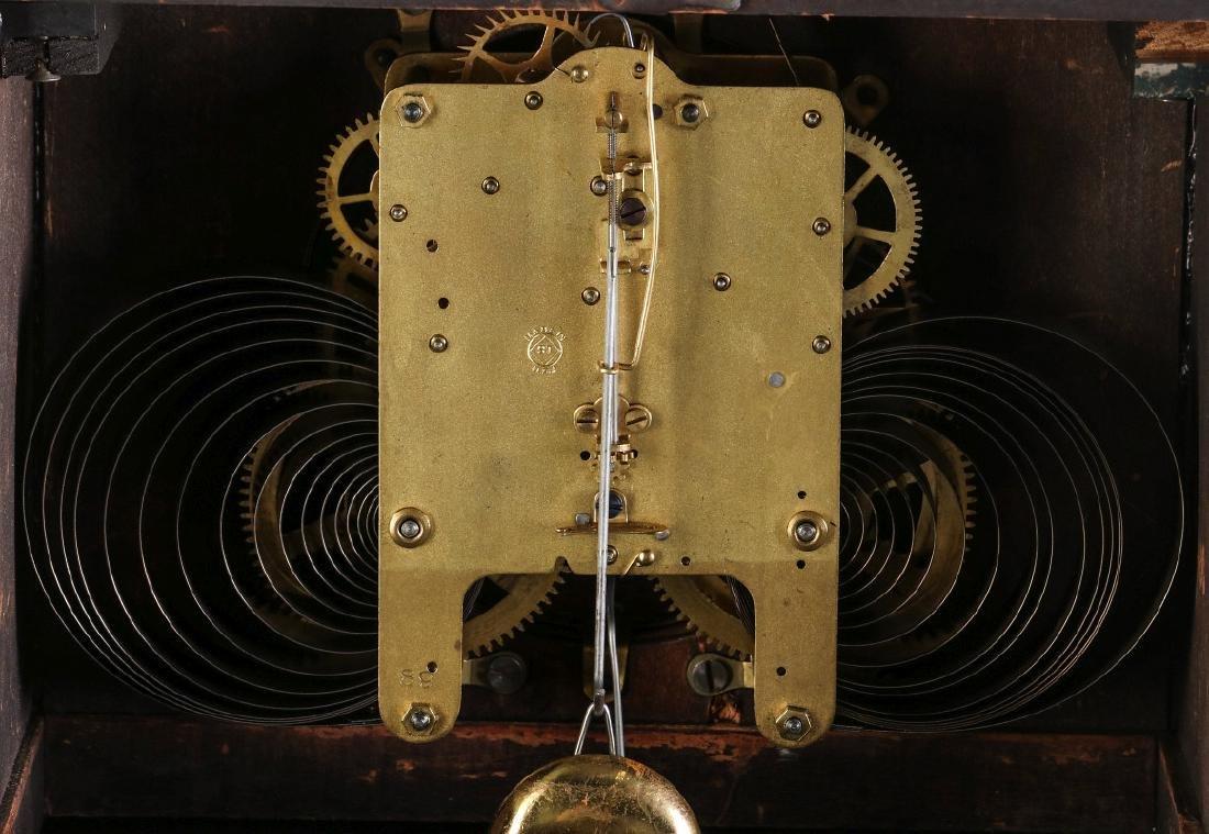 A SETH THOMAS ADAMANTINE FINISH MANTEL CLOCK - 12