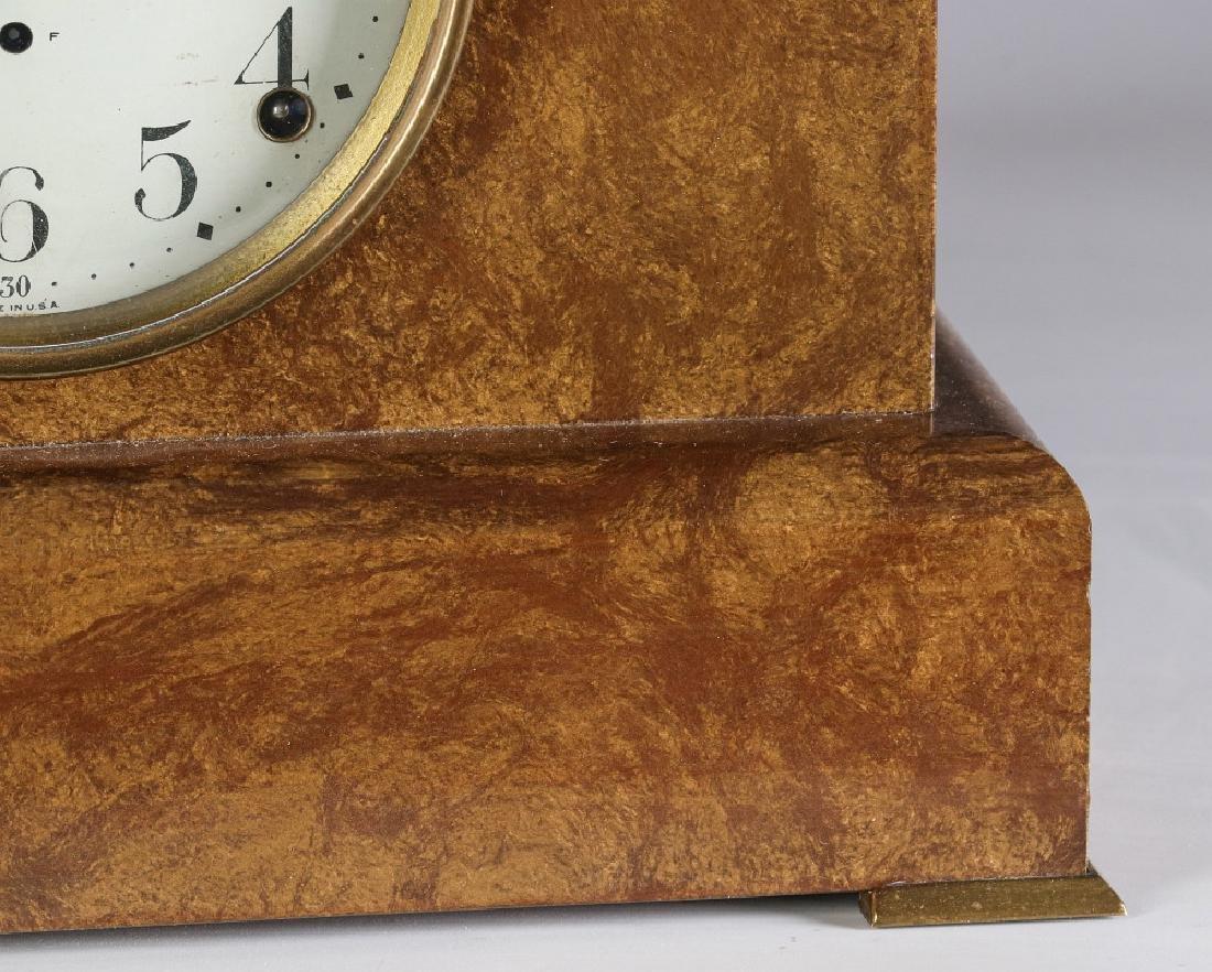 A SETH THOMAS ADAMANTINE FINISH MANTEL CLOCK - 4
